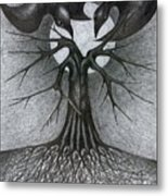 Night Tree Moon And We  Metal Print