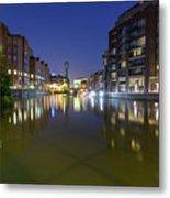 Night View Across River Avon To Temple Bridge Bristol England Metal Print