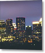 Night View Of Downtown Skyline In Winter Metal Print
