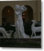 Night View Of Fountain In Front Of The Arlington Hotel, Arkansas, Ar Metal Print