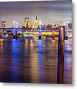 Night View Of Hungerford Bridge And Golden Jubilee Bridges London Metal Print