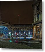 Night View Of Smithfield Market In North London Metal Print