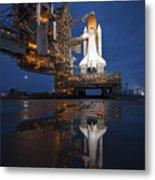 Night View Of Space Shuttle Atlantis Metal Print by Stocktrek Images