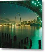 Night View Of St. Louis, Mo Metal Print by Michael S. Lewis