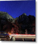 Night View Of The Upper And Lower Yosemite Fall Metal Print