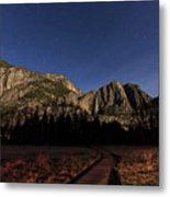 Night View Of The Upper Yosemite Fall Metal Print