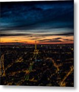 Night View Over Paris With Eiffel Tower Metal Print