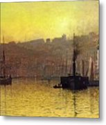 Nightfall In Scarborough Harbour Metal Print