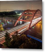 Nighttime Boats Cruise Up And Down The Loop 360 Bridge, A Boaters Paradise With Activities That Include Boating, Fishing, Swimming And Picnicking - Stock Image Metal Print