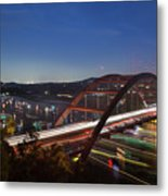 Nighttime Boats Leave Colorful Streaks As They Cruise Up And Down Lake Austin Below The 360 Pennybacker Bridge Metal Print