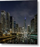 Nighttime Chicago River And Skyline View Metal Print
