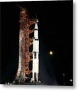 Nighttime View Of The Apollo 12 Space Metal Print