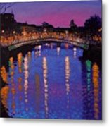 Nighttown Ha Penny Bridge Dublin Metal Print by John  Nolan