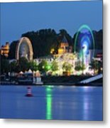 Nijmegen Along The Waal River With A Fairground Metal Print