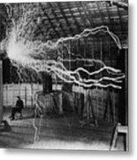 Nikola Tesla 1856-1943 Created A Double Metal Print
