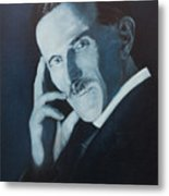 Nikola Tesla - Blue Portrait Metal Print