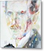 Nikola Tesla - Watercolor Portrait.3 Metal Print