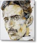 Nikola Tesla - Watercolor Portrait.6 Metal Print