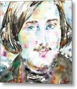 Nikolai Gogol - Watercolor Portrait Metal Print