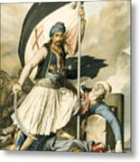 Nikolakis Mitropoulos Raises The Flag With The Cross At Salona On Easter Day 1821 Metal Print