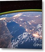 Nile River At Night From Iss Metal Print