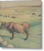 Nils Kreuger, 1858-1930, Cow In The Meadow Metal Print
