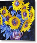 Nine Sunflowers With Black Background Metal Print