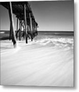 Nj Shore In Black And White Metal Print