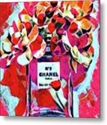 No 5 Pink Colored Metal Print