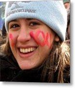 No Kxl Face Paint At Political Demonstration Metal Print