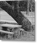 No One Sits Here In Black And White Metal Print