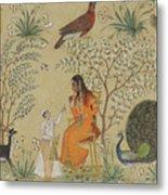 Noble Woman In A Garden Metal Print