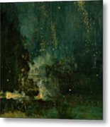 Nocturne In Black And Gold - The Falling Rocket Metal Print by James Abbott McNeill Whistler