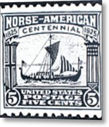 Norse-american Centennial Stamp Metal Print