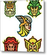 Norse Gods Mascot Collection Metal Print