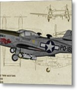 North American F-82b Twin Mustang - Profile Art Metal Print