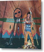North American Indian Contemplating Metal Print