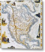 North American Map, 1851 Metal Print