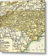 North Carolina Antique Map 1891 Metal Print