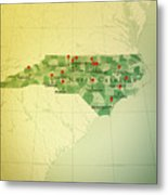 North Carolina Map Square Cities Straight Pin Vintage Metal Print