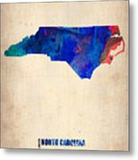 North Carolina Watercolor Map Metal Print
