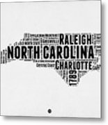 North Carolina Word Cloud Map 2 Metal Print