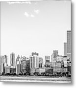 North Chicago Skyline Panorama In Black And White Metal Print