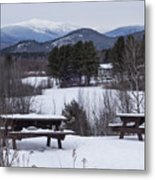 North Conway Winter Mountains Metal Print