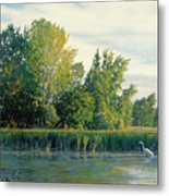 North Of The Grade-great Egret Metal Print