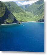 North Shore Cliff Coast Line Metal Print