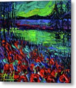 Northern Lights Embracing Poppies Metal Print