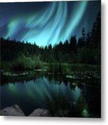 Northern Lights Over Lily Pond Metal Print