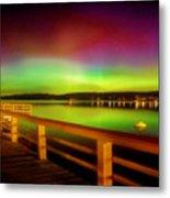 Northern Lights Over Okanagan Lake Canada Metal Print
