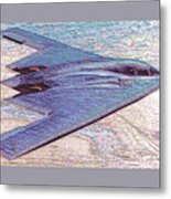 Northrop Grumman B-2 Spirit Stealth Bomber Enhanced With Double Border II Metal Print
